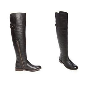 Frye Shirley Over the Knee Black Leather Boots